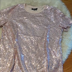 DKNY pale pink sequence top